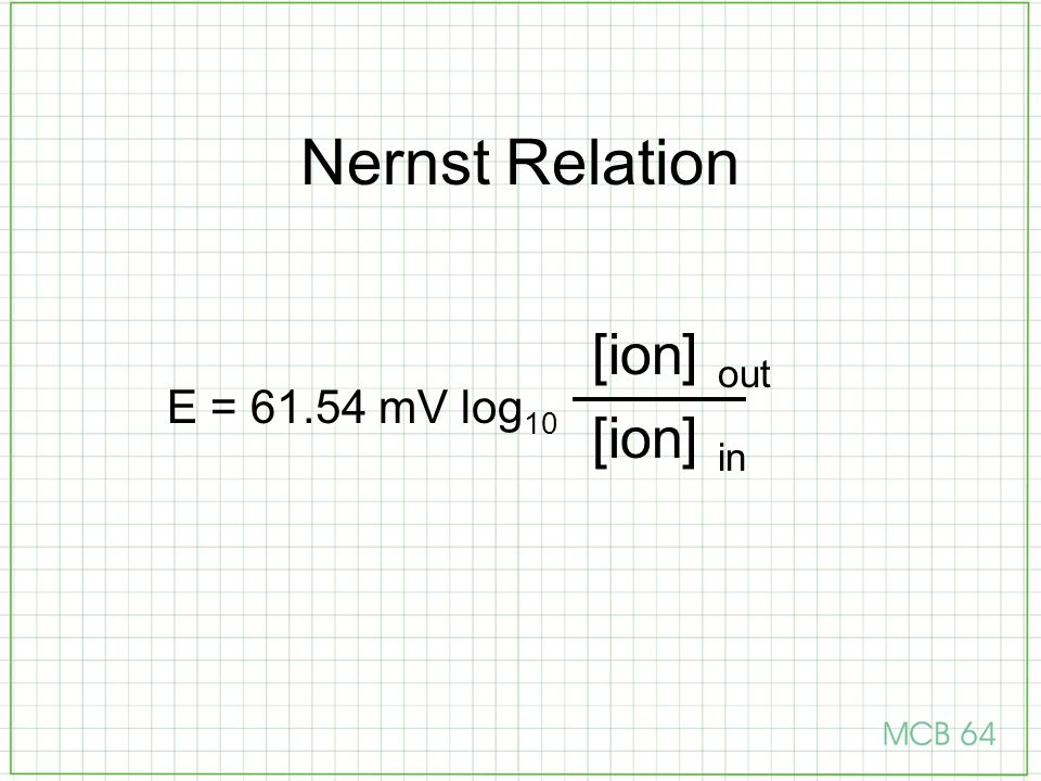 Nernst Relation [ion] out [ion] in E = 61.54 mV log10